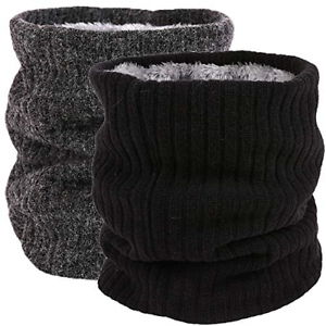 Fleece Neck Warmer Thermal Snoods Unisex Thick Winter Cold Weather Knitted Scarf