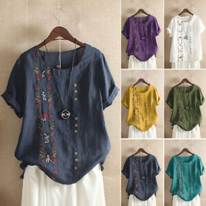 ZANZEA-Womens-O-Neck-Embroidery-Tops-Ladies-Cotton-Linen-Shirts-Blouse-Pullover