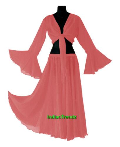 Royal Blue Top Set Ruffle Tie Gypsy Dress Jupe Belly Dance Chiffon Skirt