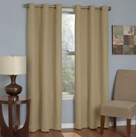 """Eclipse Microfiber 42"""" x 95"""" Thermaback Grommet Blackout Window Panel, Beige"""