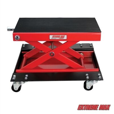 Extreme Max 1100 lb Wide Motorcycle Scissor Jack with Dolly