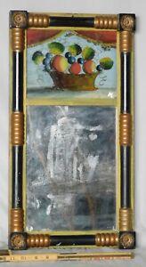 Antique Federal gilded mirror 1830 half column eglomise panel fruit gold brass