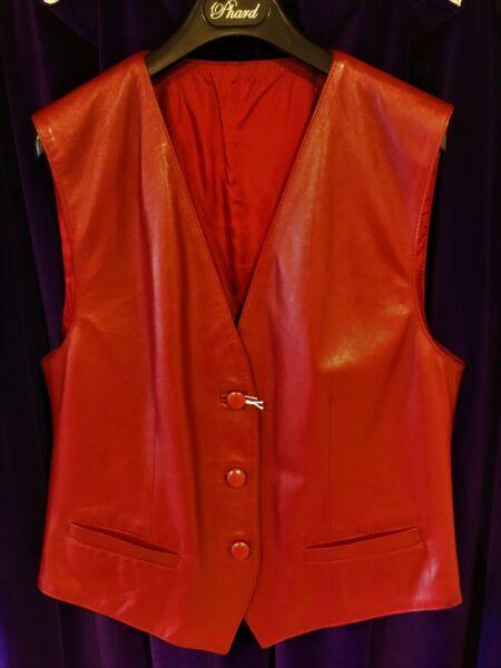 2019 Nuevo Estilo Gilet Rosso Pelle Tg 46 Nuovo Donna Rock Country Leather Jacket Biker Women Red