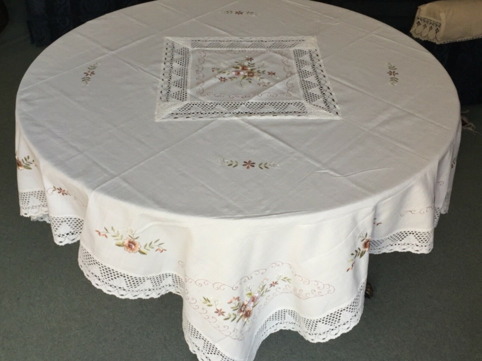Large attractive  table cloth (140cm sq. approx.)