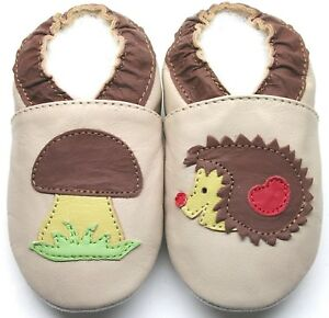 slippers hedgehog beige 12-18 m soft sole baby first walking shoes