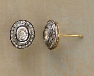 Fine-Earrings-Natural-Diamond-Polki-Rose-Cut-Diamond-amp-18k-Gold-Sterling-Silver