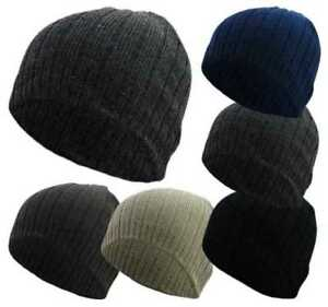 3ad6850b9f5 Mens Beanie Hat Adults Ribbed Knitted Skull Winter Warm Stretch Cap ...