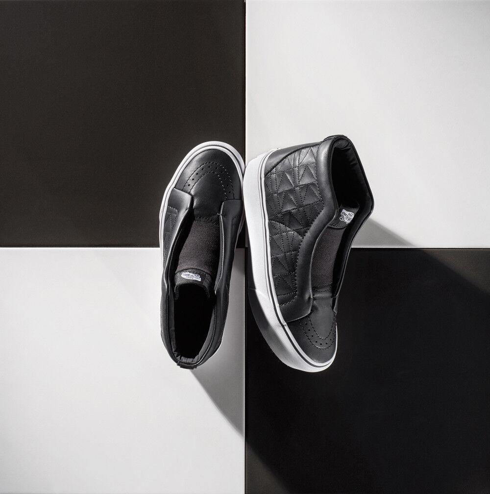 VANS Karl Lagerfeld Laceless Platform Black Leather Quilt Women shoes
