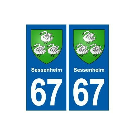 67 Sessenheim blason autocollant plaque stickers ville arrondis
