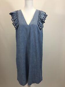 89f32a82cacd NEW JCrew $98 Chambray ruffle-shoulder sheath dress Size 12 Torrey ...