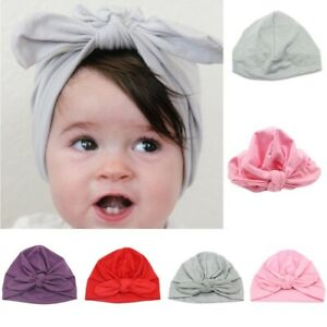 Newborn-Baby-Girls-Turban-Bow-Knot-Head-Wrap-Hat-Cotton-Cap-Headband
