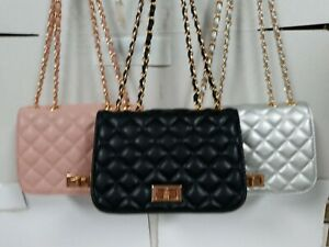 CROSS BODY BAG ELEGANT YET VERY FUNCTIONAL SOFT QUILTED CHAIN HANDLE PERFECT FO