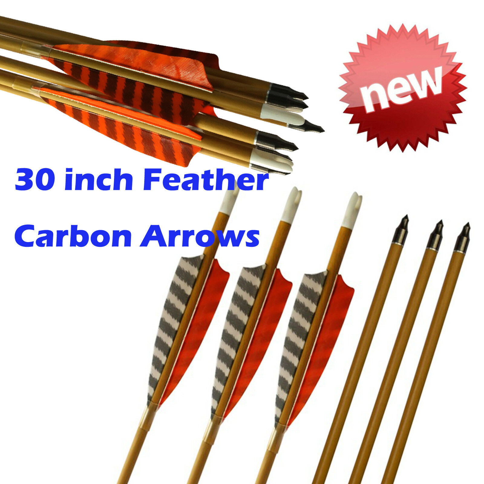 30  Feather Carbon Arrows SP600 Wood Camo Shaft Archery Outdoor Target Hunting