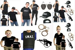 ADULTS-FANCY-DRESS-POLICE-SWAT-T-SHIRT-GUN-GLASSES-HAT-STAG-HEN-ARMY-4-PIECE-SET