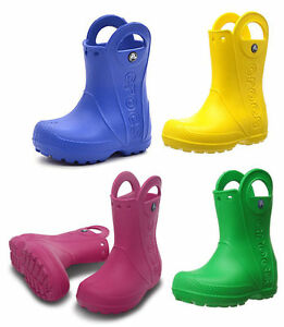 3cee16016 Crocs Handle It Rain Wellies Boys Girls Kids Slip Pull On Wellington ...