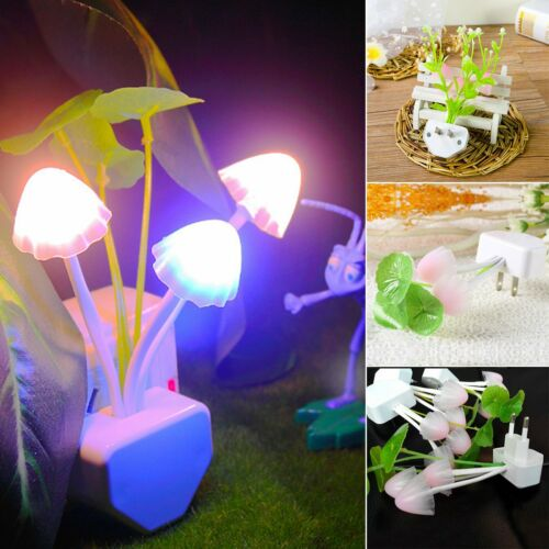 Details about  /Colorful Mushroom LED Night Light plug-in Wall Lamp Romantic Cute Bedroom Decor