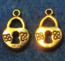 50Pcs. WHOLESALE Tibetan Antique Gold LOCK w/ Flower Charms Pendants Q0080