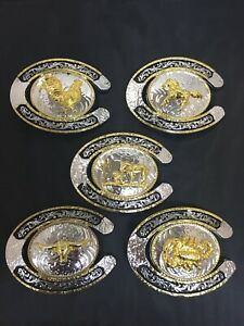 Western-Rodeo-HorseShoe-Cownboy-Rooster-Bull-Scorpion-Running-Horse-Belt-Buckle
