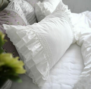 White-Embroidered-Cotton-Lace-Ruffles-Pillowcase-Sham-Pillow-Slipm-Cover-1pc