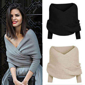 Women V-Neck Knitted Long Sleeve Sweater Jumper Wrap Cropped Tops ...