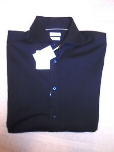 Brunello-Cucinelli-100-Knit-Cotton-Shirt-Navy-Blue-NWT-Euro-48-USA-Small-695