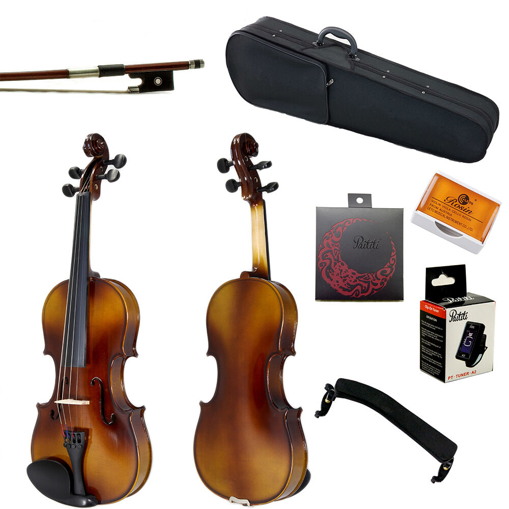 Summer SALE Paititi 4 4 Solid Wood Violin w Case One Bow Rosin Tuner