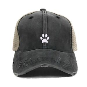 a9652a250 Details about Mens Womens Trucker Hat Custom Embroidered Distressed Mini  Paw Print Ball Cap