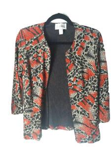 Joseph-Ribkoff-Zip-Jacket-Designer-Size-10-Patterned-Red-Gold-and-Black-Floral