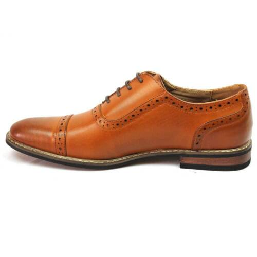 New Men/'s Brown Dress Shoes Cap Toe Lace Up Oxfords Leather Lining Parrazo