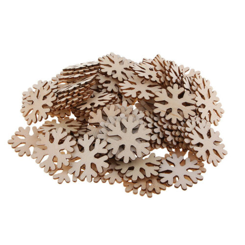 100pcs Schneeflocke Holzverzierungen Craft Unfinished Wood Chips DIY Craft