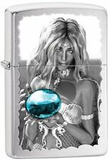 Zippo Brushed Chrome Windproof Lighter Mermaid and Blue Orb, 28651, New In Box