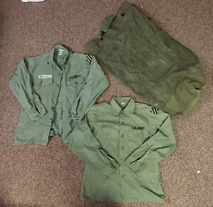 Lot-Of-3-Military-Army-Jacket-Mash-Military-Jacket-And-Military-Canvas-Bag