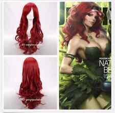 BATMAN Poison Ivy Long Wavy dark Red Anime Cosplay Hair Wig