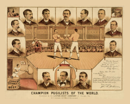 Boxing Champion Pugilists 1885 Chicago Sport 16X20 Vintage Poster Repro FREE SH