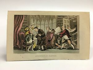 Ackermann With The Best Service In Danger/chaos~doctor Syntax Hand Colored Engraving 1823