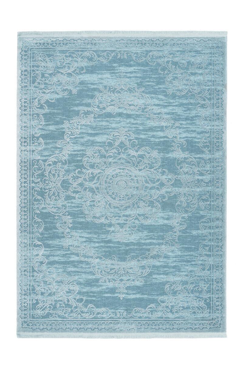 Fioritures Tapis lianes design moderne franges 3d Effet Bleu Turquoise 80x300cm