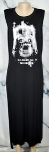STAR-WARS-Black-Darth-Vader-Long-Sleeveless-Sleep-Shirt-XL-Stretch-Jersey