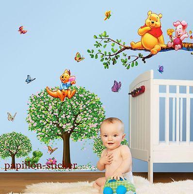 Winnie The Pooh Animal Butterfly Tree Baby/Kid  Room Nursery  Wall Sticker Decal