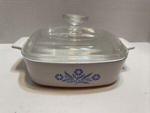 Corning Ware Blue Cornflower 1 Qt 1L Casserole Dish A-1-B w/ Pyrex A7C LID Nice!