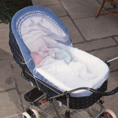 Clippasafe Pram /& Carrycot Insect Net White Mesh Mosquito Repellent Cover Screen