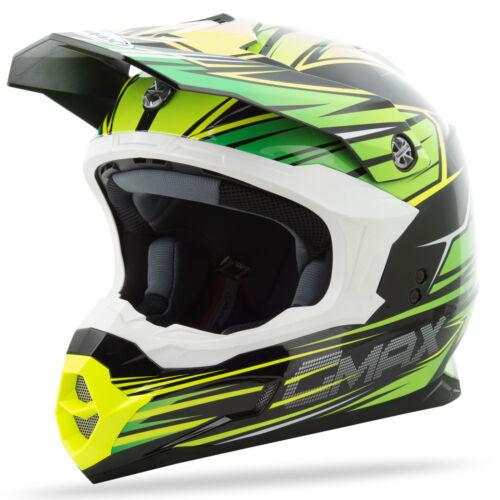Choose Size Black//Green//Hi-Vis Yellow GMAX MX86 Motocross Offroad Helmet Raz
