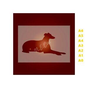 GREY-HOUND-Dog-Stencil-Strong-350-micron-Mylar-not-Hobby-stuff-DOGS006
