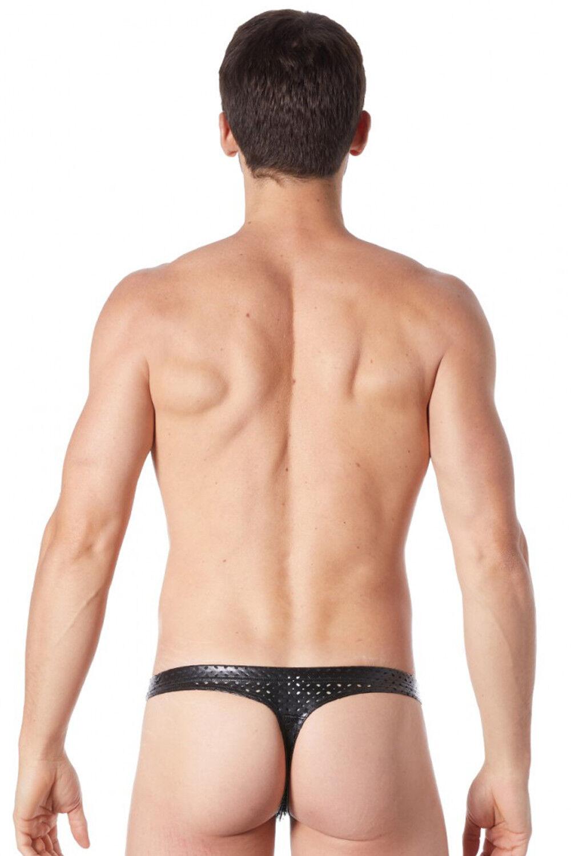 LOOK ME KUNSTLEDER STRING LOCHMUSTER clubwear schwarz gay wetlook slip