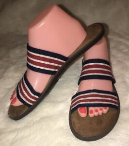 44410dd0709 Details about Mad Love Women Strappy Flat Sandals Striped Print Slip On  Comfy Insole SZ 11 NWT