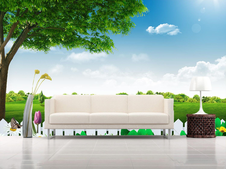 3D greenes  Baum Zaun Gras 72  Tapete Wandgemälde Tapete Tapeten Bild Familie DE