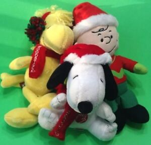 Peanuts Christmas Musical.Details About 3 Peanuts Plush Christmas Musical Friends Woodstock Snoopy Charlie Brown