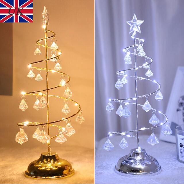 Red Christmas Jingle Bells Bows Crystal Drop Led Lights Garland Table Tree Decor