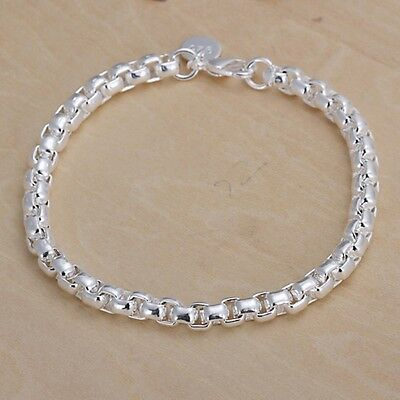 New Women Fashion 925 Sterling Silver Plated Cuff Charm Chain Bracelet Jewelry