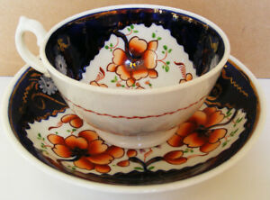 Gaudy-Welsh-Richly-coloured-Tricorn-Pattern-Teacup-and-Saucer-c1845-1860