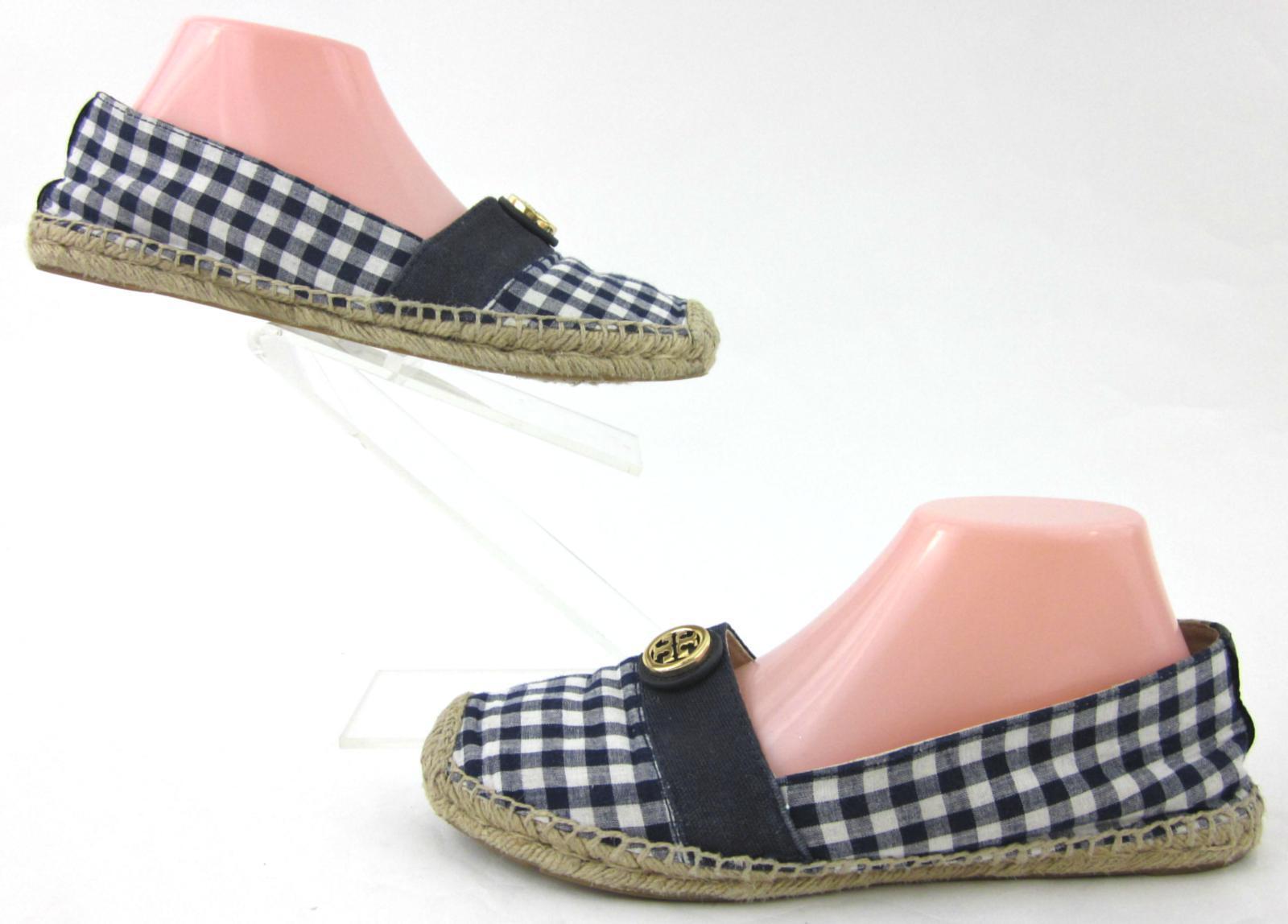 Tory Burch Beacher Flat Espadrille chaussures Navy bleu   blanc US 9M
